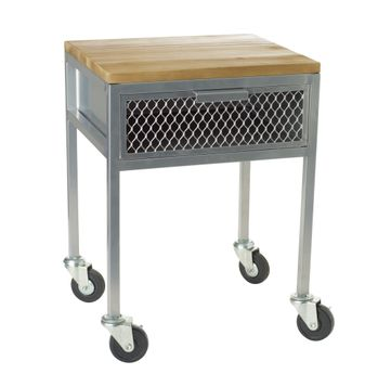 Industrial Look Accent Table with Drawer