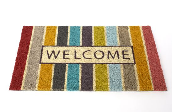 Striped Welcome Doormat