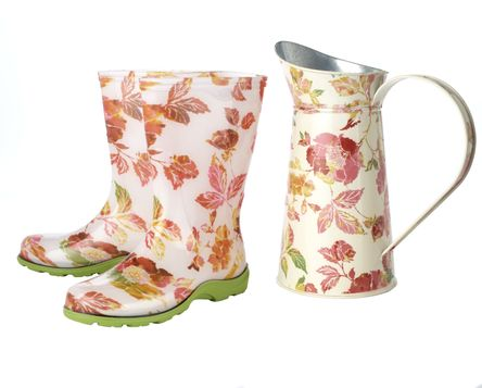 Floral Gardening Boots and Floral Watering Can