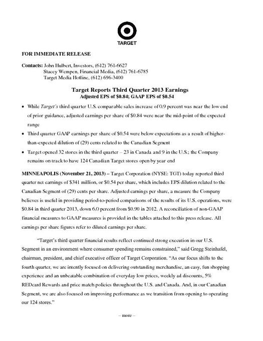 FY2013 Q3 Release with Schedules
