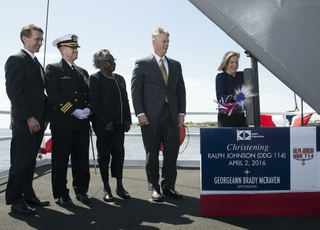 Ralph Johnson(DDG 114) is Christened