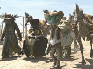 Left to right: Elgin (John Cothran), Ambrose (Ian Abercrombie), Rango (Johnny Depp), Buford (Blake Clark), Waffles (on horse, James Ward Byrkit), and Spoons (Alex Manugian) in RANGO, from Paramount Pictures and Nickelodeon Movies. Photo credit: Courtes...