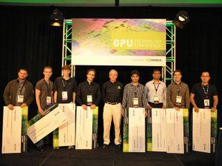 NVIDIA 2010 Graduate Fellowship Award winners with NVIDIA chief scientist Dr. Bill Dally (center).