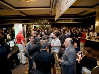 Senior developers, engineers, scientists and startup companies network in the exhibit hall at GTC 2009.