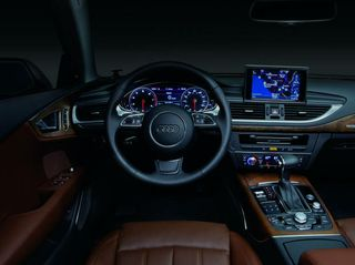 Audi vehicle interior -- digital instrumentation and navigation powered by NVIDIA.