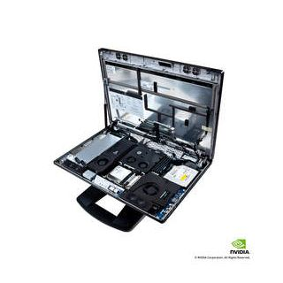 HP Z1-overhead view (w/hood open) of internal components tray