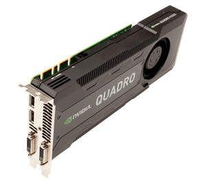 New NVIDIA Quadro K5000 professional graphics card - top/upright shot