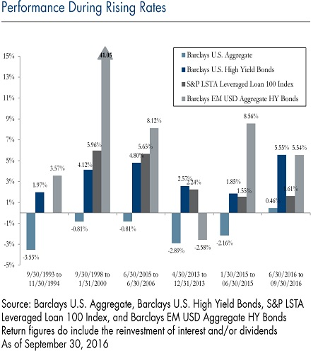 Performance During Rising Rates - chart