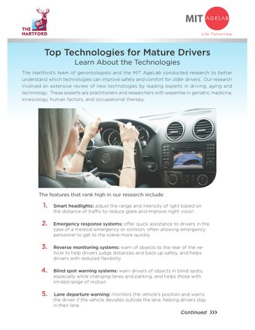 Top Technologies for Mature Drivers: Top Ten List