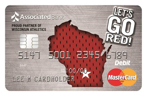 "Associated Bank's new ""Let's Go Red"" Debit Mastercard® is a"