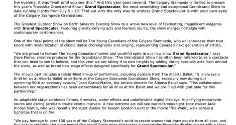 Grand Spectacular Media Release