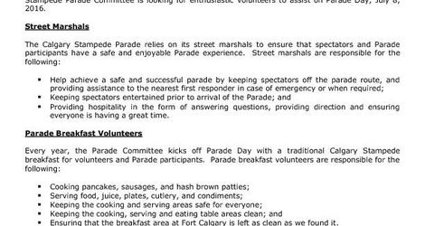 2016 Parade Volunteer Opportunities PSA