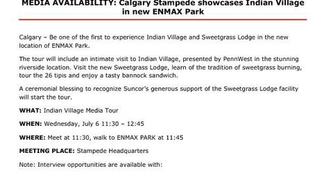 Indian Village Tour Media Advisory
