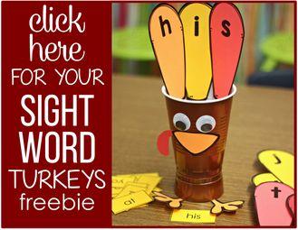 A Differentiated Kindergarten - Thanksgiving Sight Word Activity - 01
