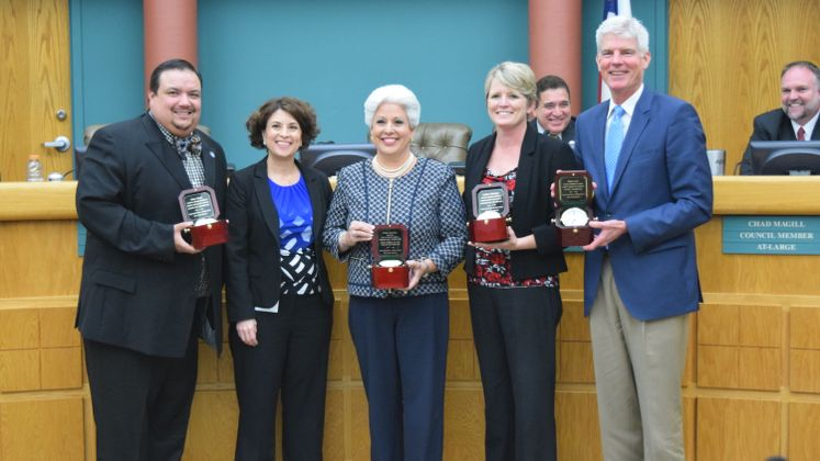 Outgoing Council Members and Mayor