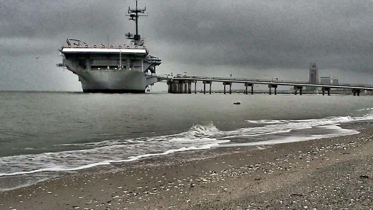USS Lexington at North Beach