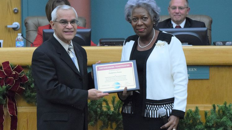 F. Peña, Toastmasters Recognition