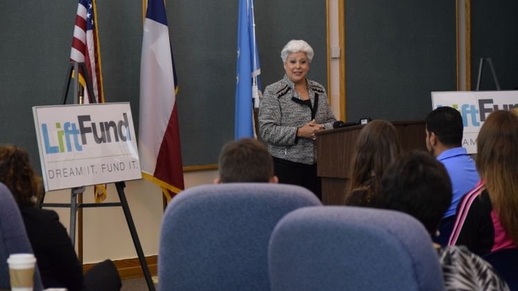 Mayor Nelda Martinez speaks at Liftfund Presser