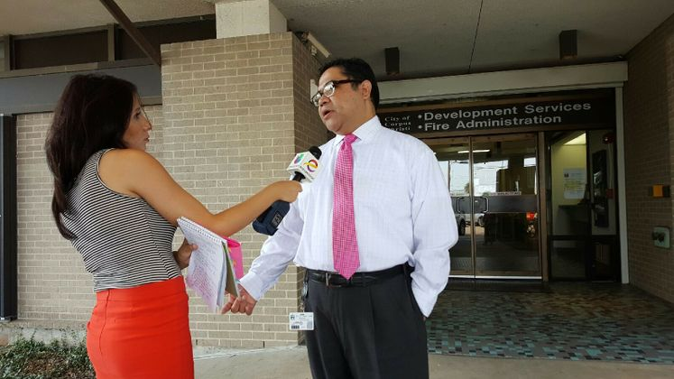 Julio Dimas Assistant Director for Development Services talk to Univision in regards upcoming Building Codes Workshops
