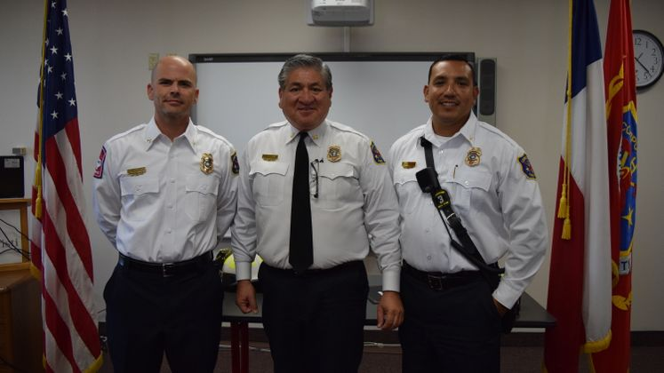 CCFD's Latest Promotions, B. Stowers and J. Perez, also pictured Chief R. Rocha