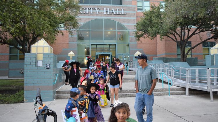 George Evans Students Trick-or-Treat at City Hall
