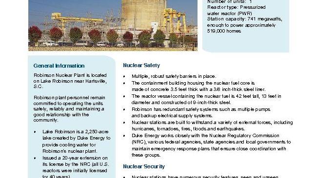 Robinson Nuclear Plant Fact Sheet