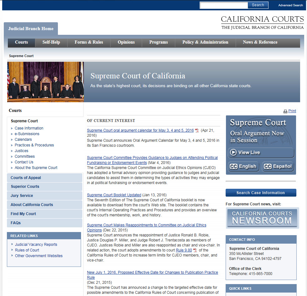 Supreme Court Webcast Homepage Button