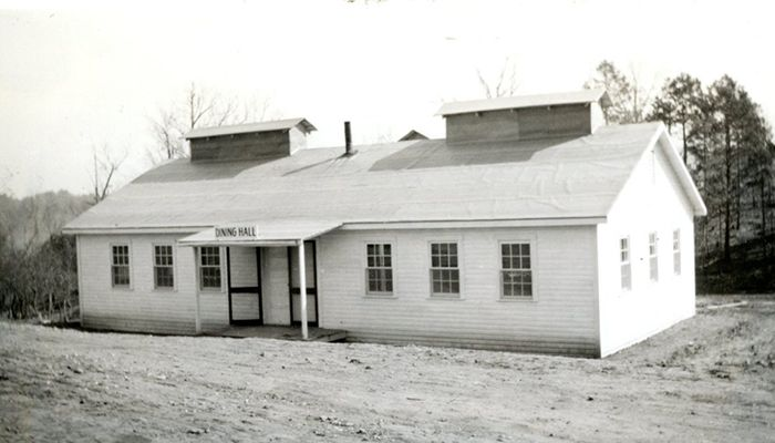 Temporary mess hall at Cliffside in 1939 during construction of the power plant.