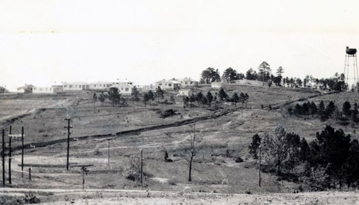 In this 1939 photo, houses at Cliffside Village are visible on the top of the hill.