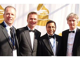 Accepting the 2010 Technical GRAMMY Award (from left to right): Blake Augsburger (President, Harman Professional Division), Stefan Gubi (President, AKG), Dinesh Paliwal (Chairman and CEO, Harman International) and Alfred Reinprecht (VP Marketing, AKG)