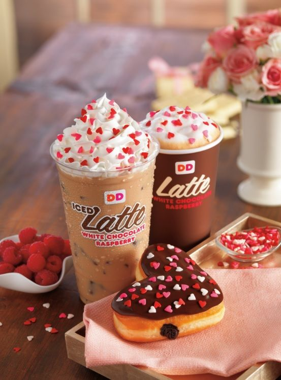 HEARTS SET ON VALENTINE'S DAY AT DUNKIN' DONUTS WITH HEART-SHAPED DONUTS AND NEW WHITE CHOCOLATE RASPBERRY COFFEE AND LATTES