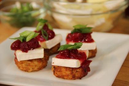 Dunksgiving Appetizer: Cranberry Brie Hash Brown Canapés