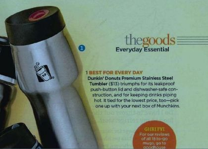 "We're HonoreDD: Dunkin' Donuts' Premium Stainless Steel Tumbler Makes Good Housekeeping's ""Top Travel Mugs"" of 2012 List"