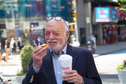 """Dunkin' Donuts Unveils New Digital Billboard in Times Square with Help of Broadway Producer and Director Harold """"Hal"""" Prince"""