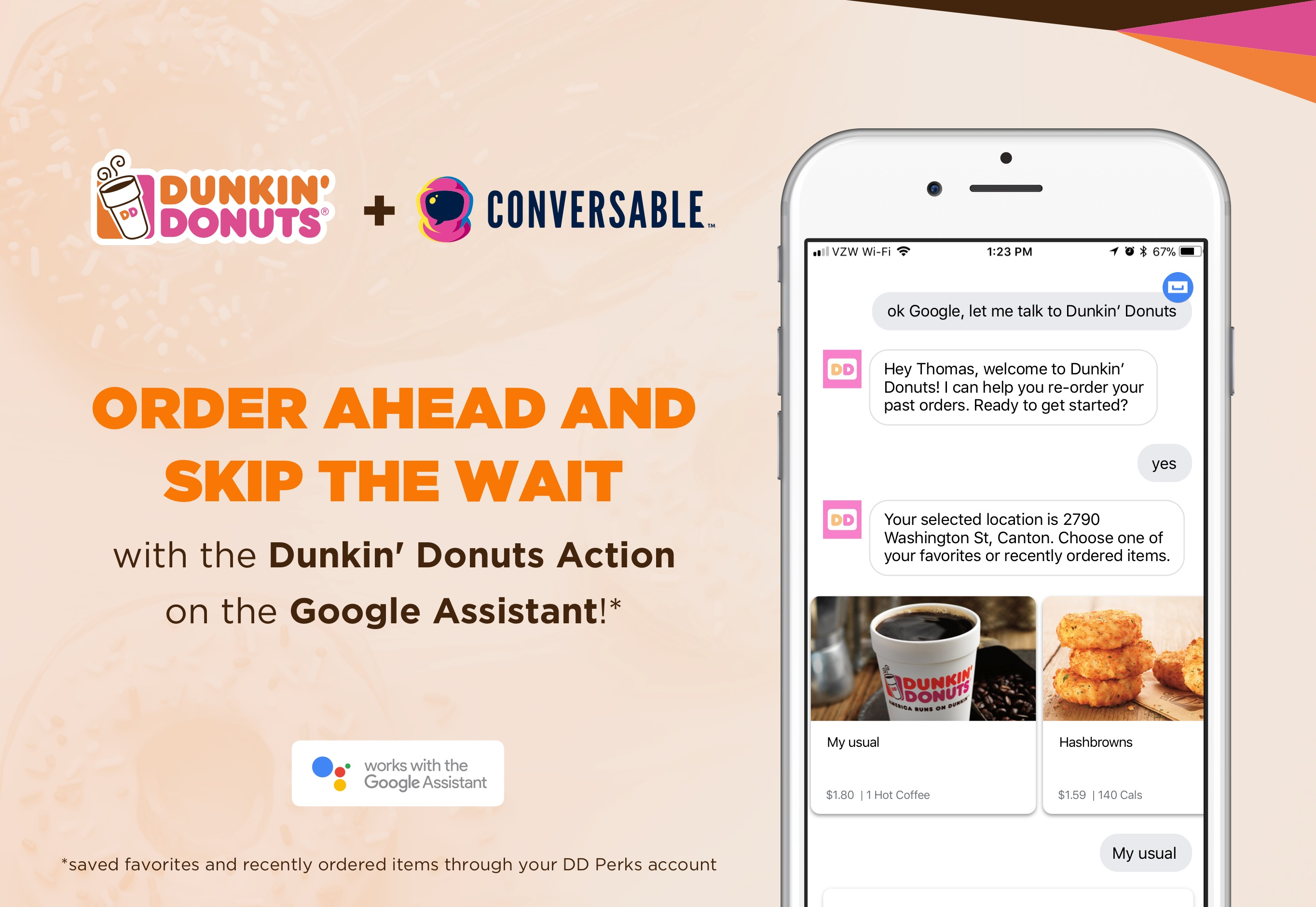 Dunkin\' Donuts Integrates On-the-Go Mobile Ordering With the Google ...