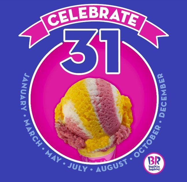 """BASKIN-ROBBINS INVITES GUESTS TO RING IN THE NEW YEAR WITH $1.31 SCOOPS DEAL AS PART OF """"CELEBRATE 31"""" PROMOTION ON NEW YEAR'S EVE"""