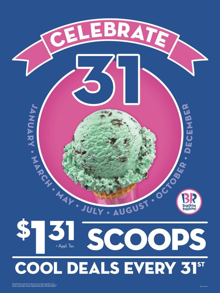 """Baskin-Robbins Kicks off Summer with """"Celebrate 31"""" Promotion on Tuesday, May 31,  Offering Guests $1.31 Ice Cream Scoops"""