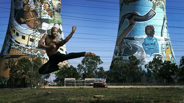 Jermaine Terry in front of the Orlando Towers in Soweto