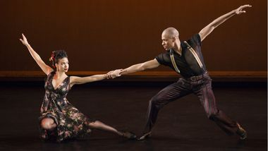 Alvin Ailey American Dance Theater's Belen Pereyra and Yannick Lebrun in Paul Taylor's Piazzolla Caldera