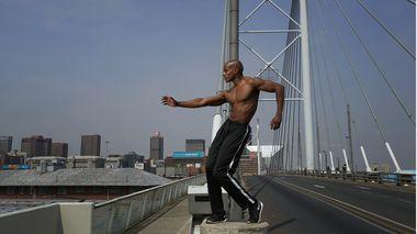 Collin Heyward on the Nelson Mandela Bridge in Johannesburg
