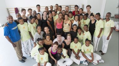 The Ailey School and Oprah Winfrey Leadership Academy for Girls students with Co-Director Tracy Inman