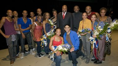 Robert Battle, Rennie Harris, dancers from Alvin Ailey American Dance Theater and  winners from the Bristol-Myers Squibb HIV Photo Contest at the world premiere of Home