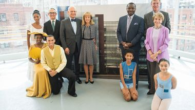 Executive Director Bennett Rink, Eric Wallach, Chairman Daria Wallach, Artistic Director Robert Battle, John Schaefer, Chairman Emerita Joan H. Weill, AAADT, Ailey II, Ailey School