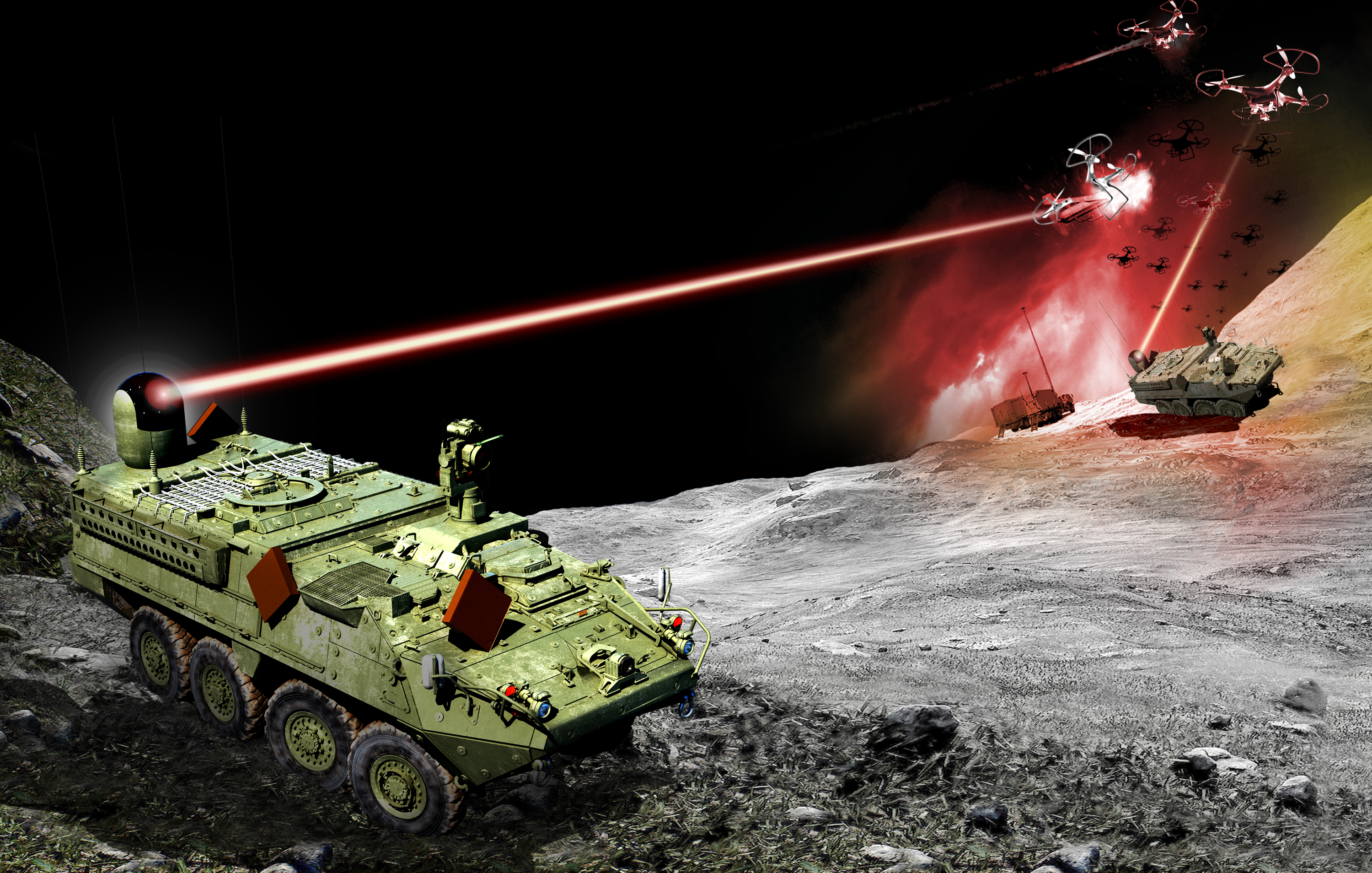 1//144 USA Stryker MSL Air Defense Missile Launcher green