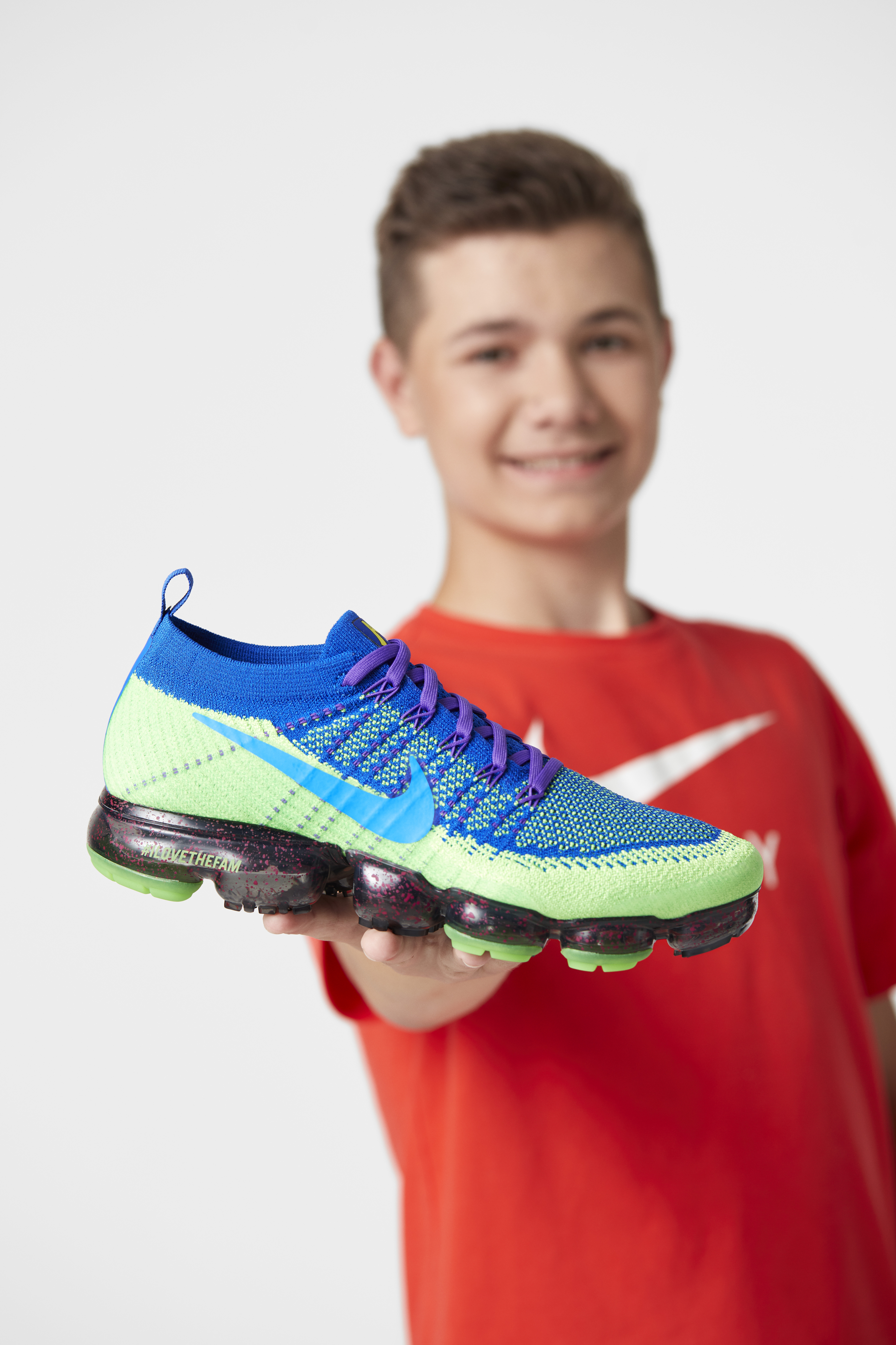 f6c2154e02 Fifteen year old Andrew Merydith's Doernbecher Freestyle Collection  includes a Nike Air VaporMax Flyknit, a hat and a hoodie. (Dan Root)