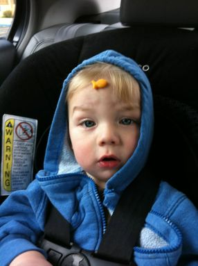 11 month-old Preston enjoys some Pepperidge Farm Goldfish!