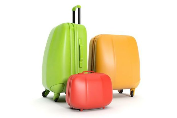 bright colored luggage