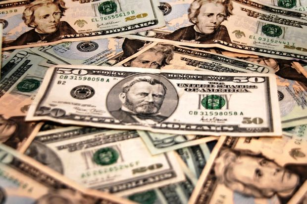 fifty and twenty dollar bills