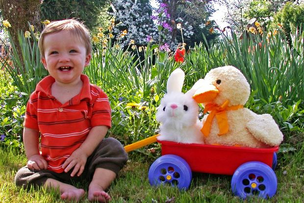 toddler with wagon stuffed easter bunny duck