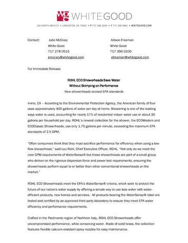 ROHL EcoShowerheads Release Feb Pressroom